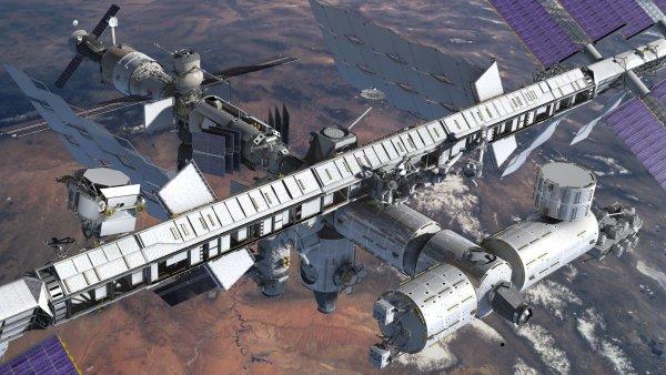 [图片说明]:ams-02(左侧的矮圆柱形)安装到国际空间站上之后的想象